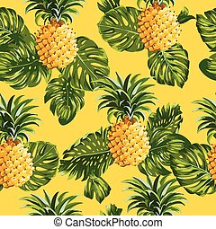 Pinapples and Tropical Leaves Background - Pineapples and...