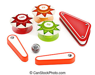 Pinball bumpers, flippers and metal ball on white background. 3D illustration.