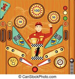 pinball icon 2 - Vector detailed illustration of a vintage ...