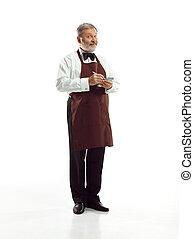 pincér, idősebb ember, műterem