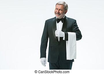 pincér, idősebb ember, törülköző, fehér, birtok