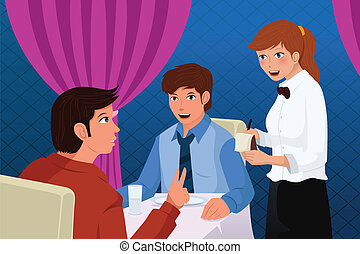 pincér, vásárlók, felszolgálás, étterem
