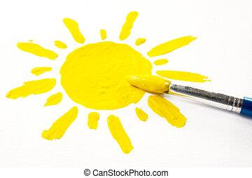 pinceau, et, peint, soleil