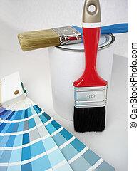 pincel, e, pintura