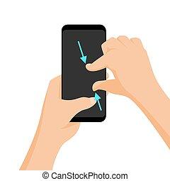 pincement, multi-touch, zoom., vecteur, tablettes, geste,...