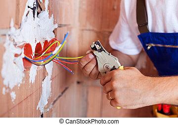 pinces, électricien, mains