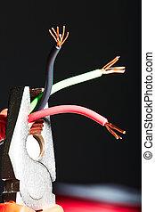 pinces, électrique, cables.