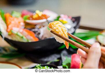 pinces, baguettes, sushi., bois, tenant main