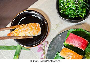 pinces, baguettes, sushi, bois, tenant main