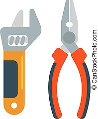 pinces, clé, décorer, outils, rénovation, vector., plat, accessoires, maison