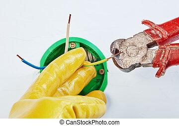 pinces, wires., découpage, coupures