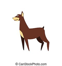 Pincher Dog Breed Primitive Cartoon Illustration In...
