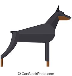 pinchers, dobermann, hund, abbildung, vektor, böser , sicherheit