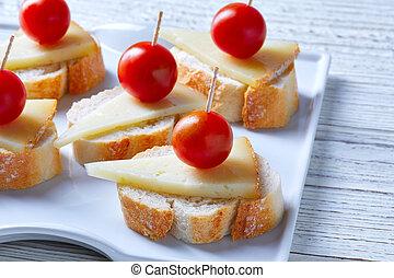 pinchos manchego cheese cherry tomatoes - pinchos pintxos...