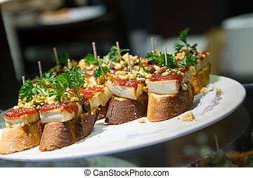 Pinchos on a plate