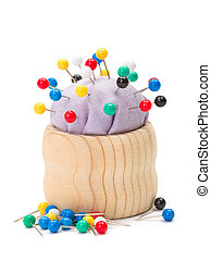 Pincushion full with colorful push pins