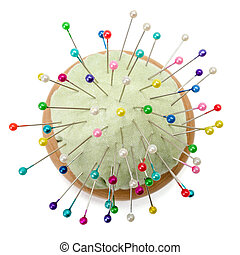 Pincushion with colorful pins