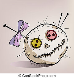 pincushion with eyes made of buttons, the mouth of the thread, pins and a bow
