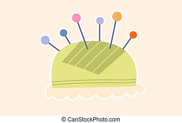 Pincushion with needles. Colored cartoon vector illustration