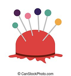 pincushion with pins icon - pincushion with colorful pins...