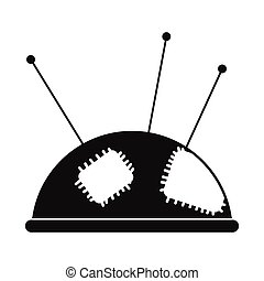 Pincushion with pins black simple icon isolated on white background