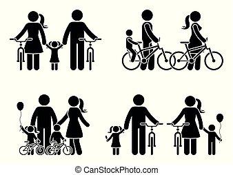 pind, bike, familie, figur, pictogram
