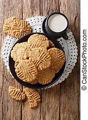 pinda, aanzicht, melk, verticaal, close-up., boter, koekjes, bovenzijde