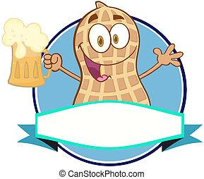 pinda, bier, spotprent, logo