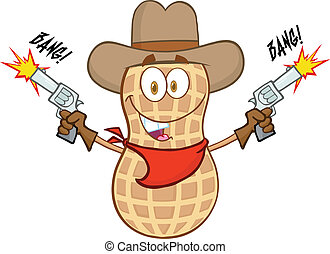 pinda, het glimlachen, karakter, cowboy