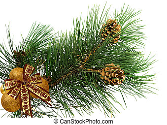 pine branch with bow and balls
