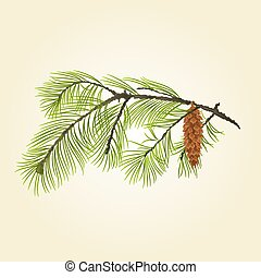 Pine branch with pine cone vector.eps - Pine branch Eastern...