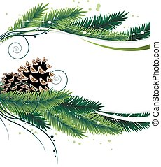 Pine branches and cones - Christmas wreath with pine...