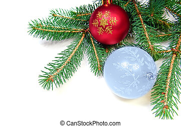Pine branches and xmas ball