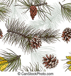 Pine branches colored seamless pattern - Colored pine fir...