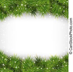 pine branches like frame on grayscale - Shiny green pine ...