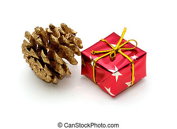 Pine cone and gift