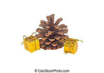 pine cone and gift isolated on white background