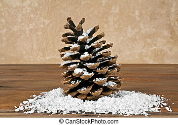 Pine cone in the snow on a wooden background