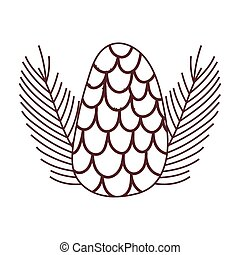 pine cone leaves foliage nature isolated icon design line style