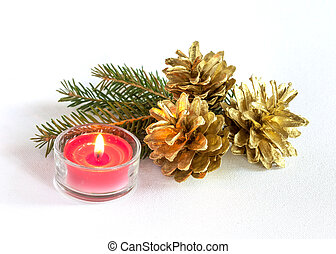 Pine cones and candle - Three big pine cones and red candle...