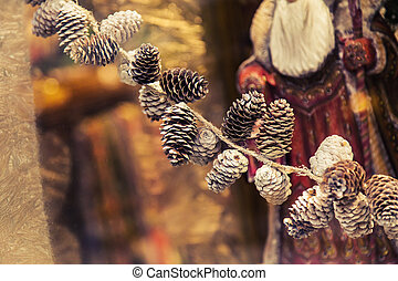 Pine cones and Christmas decor. New year decor.