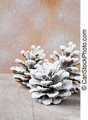pine cones covered with artificial snow