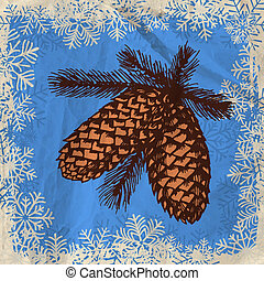 Pine cones - Hand - drawn branches with pine cones on grunge...