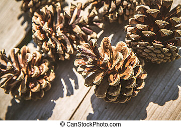 Pine cones on a wooden table