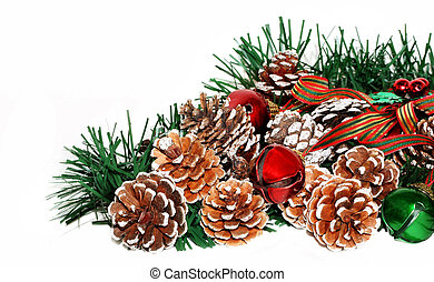 Pine Cones - Pine cones and christmas garland and bells on...
