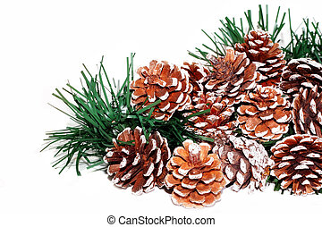Pine Cones - Pine cones and christmas garland on white...