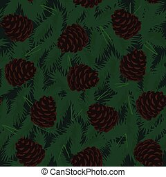 Pine Cones Seamless Pattern