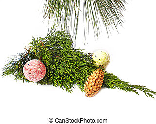 pine decorated branch