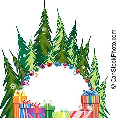 Pine forest and Christmas presents