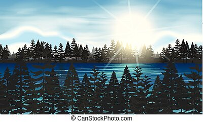 Pine forest at the lake